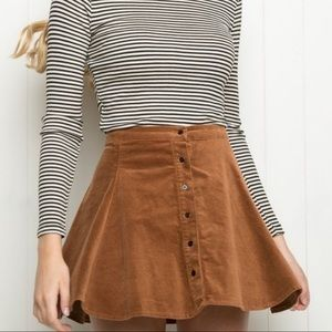 Brandy Melville One Size Brown Button Up Skirt
